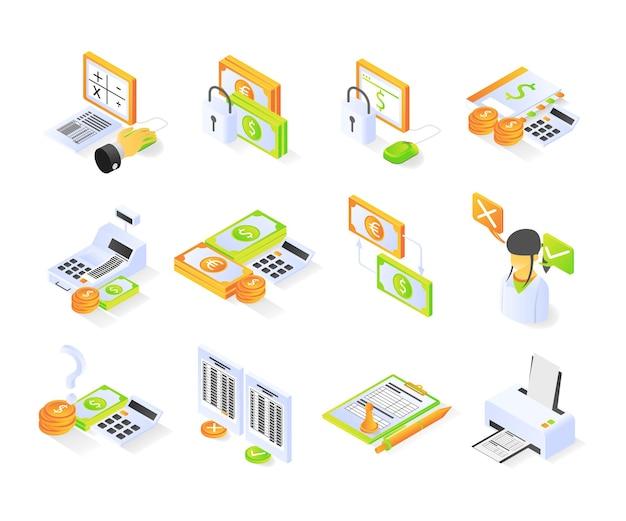 Icône de comptable avec paquet de style isométrique ou définit le vecteur premium moderne