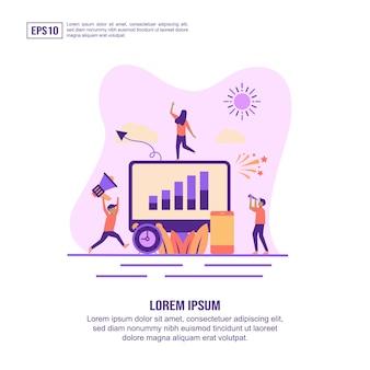Icône de concept agence de marketing numérique avec caractère