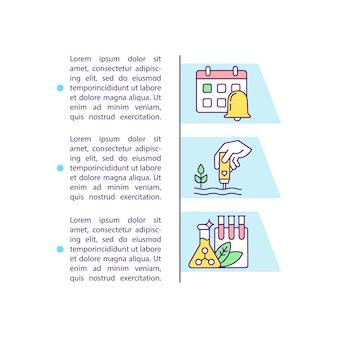 Icône de concept d'application d'engrais précis avec texte. agricole de précision. gestion des nutriments.