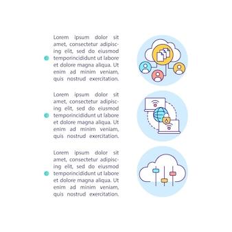 Icône de concept avantages saas avec illustration de texte