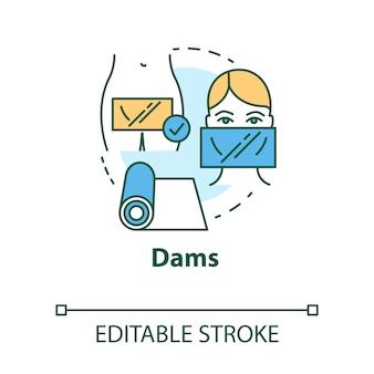 Icône de concept de barrages. prévention des maladies de l'utérus