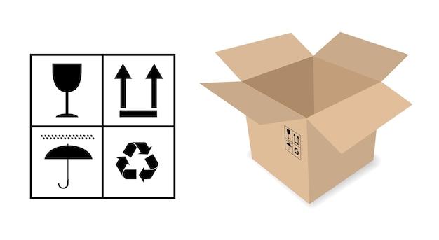 Icône de concept de boîte d'emballage en carton
