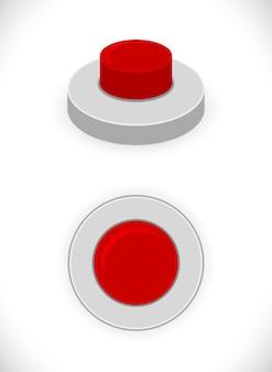 Icône de concept de bouton rouge