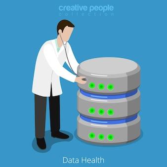 Icône de concept de contrôle de santé du disque dur de stockage sql de base de données