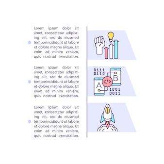 Icône de concept de cycle de vie de l'application mobile avec texte