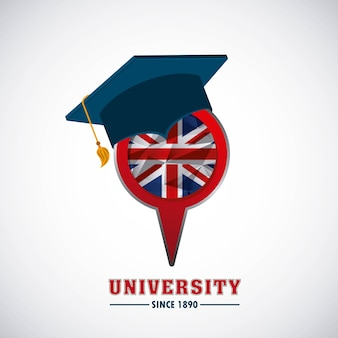 Icône de concept d'emblème universitaire