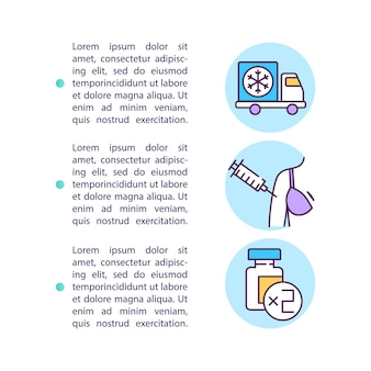 Icône de concept d'exigences de vaccin covid avec illustration de texte