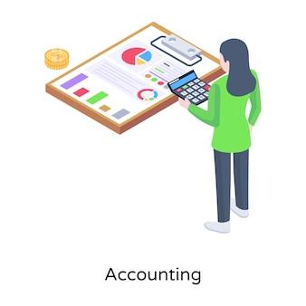 Icône de concept isométrique comptable unique
