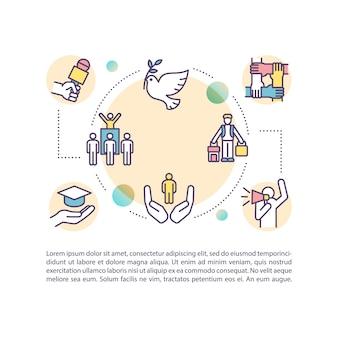 Icône de concept de libertés fondamentales avec texte. droits humains. liberté de mouvement et de pensée. modèle de page ppt. brochure, magazine, élément de livret avec illustrations linéaires