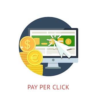 Icône de concept plat payer par clic, modèle de publicité sur internet ppc