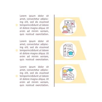 Icône de concept de programme d'études à jour avec illustration de texte