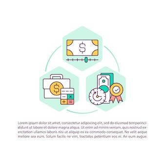 Icône de concept de réduction des coûts avec texte. dépenses courantes d'exploitation d'une entreprise ou d'une entreprise. modèle de page ppt.