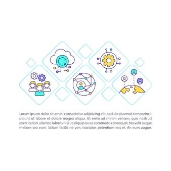 Icône de concept de solutions saas avec illustration de texte