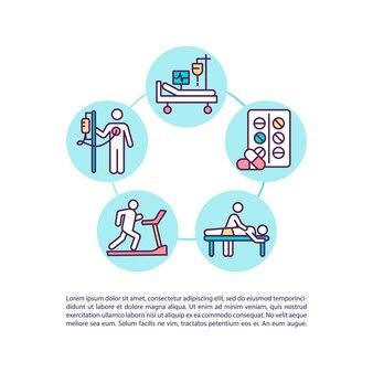 Icône de concept de traitement et de réadaptation avec illustration de texte