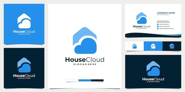 Icône de conception de logo maison nuage avec modèle de carte de visite