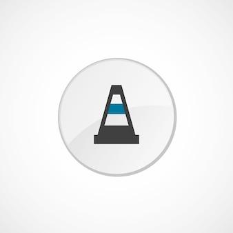 Icône de cône de construction 2 de couleur, gris et bleu, badge cercle