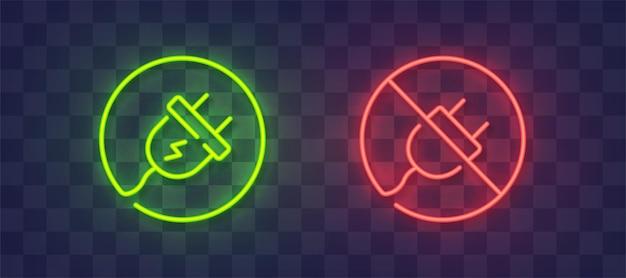 Icône de connexion et de déconnexion au néon