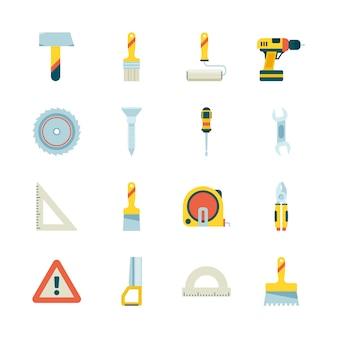 Icône de construction. équipement de l'industrie du bâtiment grue roulette peinture scie marteau collection d'images plates
