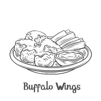 Icône de contour d'ailes de buffle. ailes de poulet rôties dessinées avec des tiges de céleri sur un plateau et de la sauce.