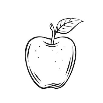 Icône de contour de fruit pomme rouge, dessin illustration monochrome. alimentation saine, aliments biologiques, produit végétarien