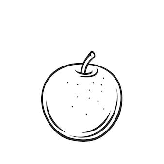 Icône de contour de fruits pomme, illustration monochrome de dessin. alimentation saine, aliments biologiques, produit végétarien.
