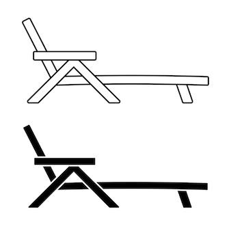 Icône de contour de lit de bronzage symbole de chaise de jardin pour le site web d'impression d'applications mobiles