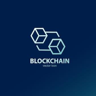 Icône de contour de logo de chaîne de bloc.