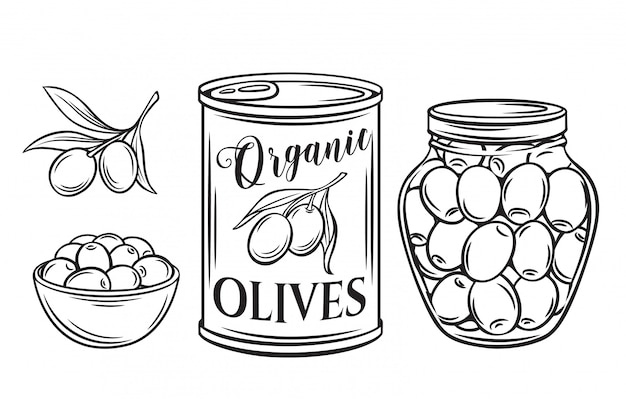 Icône de contour d'olives en conserve