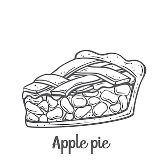 Icône de contour de tranche de tarte aux pommes. dessiné traditionnel américain fait maison.