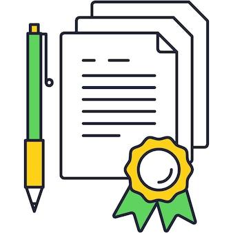 Icône de contrat avec stylo pour vecteur de signature