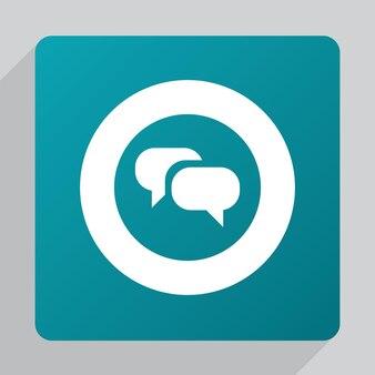 Icône de conversation plate, blanche sur fond vert