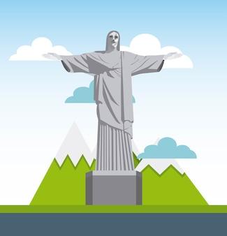 Icône de corcovado christ statue isolé