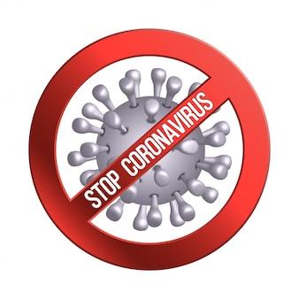 Icône de coronavirus avec panneau d'interdiction rouge, signe de concept de coronavirus