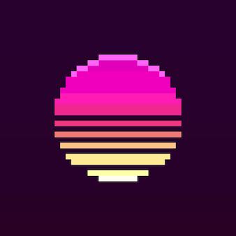 Icône de coucher de soleil rétro pixel art