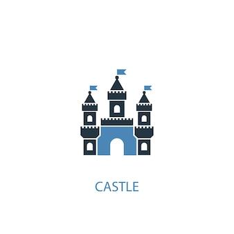 Icône de couleur château concept 2. illustration de l'élément bleu simple. conception de symbole de concept de château. peut être utilisé pour l'interface utilisateur/ux web et mobile