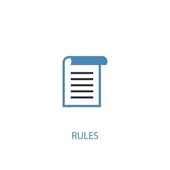 Icône de couleur de concept de règles 2. illustration de l'élément bleu simple. conception de symbole de concept de règles. peut être utilisé pour l'interface utilisateur/ux web et mobile