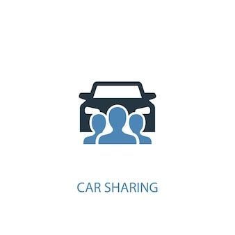 Icône de couleur du concept 2 d'autopartage. illustration de l'élément bleu simple. conception de symbole de concept de partage de voiture. peut être utilisé pour l'interface utilisateur/ux web et mobile