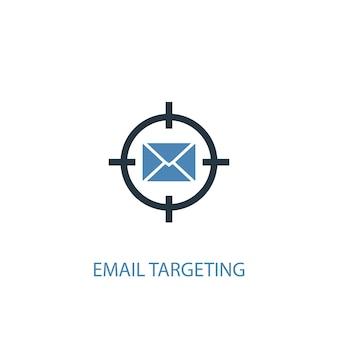 Icône de couleur du concept 2 de ciblage des e-mails. illustration de l'élément bleu simple. conception de symbole de concept de ciblage par courrier électronique. peut être utilisé pour l'interface utilisateur/ux web et mobile