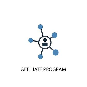 Icône de couleur du concept 2 du programme d'affiliation. illustration de l'élément bleu simple. conception de symbole de concept de programme d'affiliation. peut être utilisé pour l'interface utilisateur/ux web et mobile
