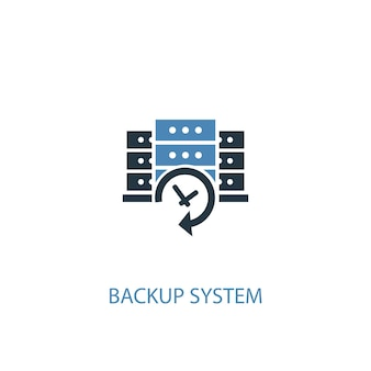 Icône de couleur du concept 2 de système de sauvegarde. illustration de l'élément bleu simple. conception de symbole de concept de système de sauvegarde. peut être utilisé pour l'interface utilisateur/ux web et mobile