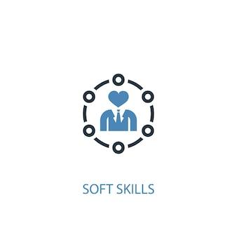 Icône de couleur du concept de compétences non techniques 2. illustration de l'élément bleu simple. conception de symbole de concept de compétences non techniques. peut être utilisé pour l'interface utilisateur/ux web et mobile