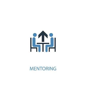 Icône de couleur du concept de mentorat 2. illustration de l'élément bleu simple. conception de symbole de concept de mentorat. peut être utilisé pour l'interface utilisateur/ux web et mobile