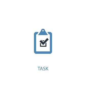 Icône de couleur du concept de tâche 2. illustration de l'élément bleu simple. conception de symbole de concept de tâche. peut être utilisé pour l'interface utilisateur/ux web et mobile