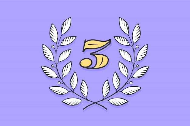 Icône de couronne de laurier avec numéro trois