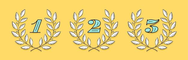 Icône de couronne de laurier avec numéro