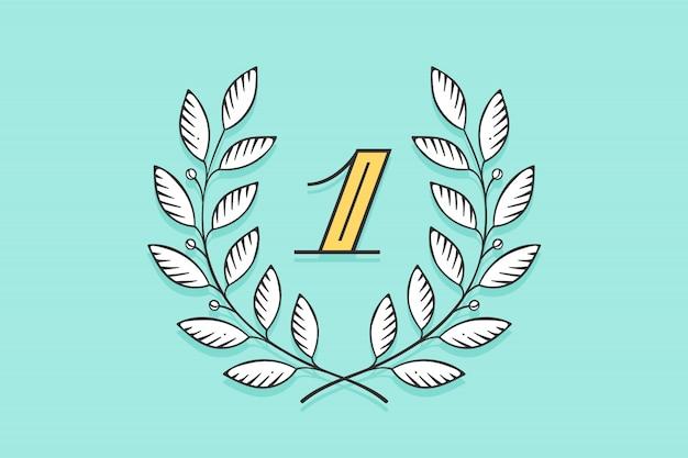 Icône de couronne de laurier avec le numéro un