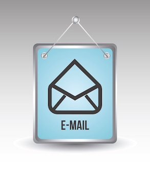 Icône de courrier électronique au cours de l'illustration vectorielle fond gris
