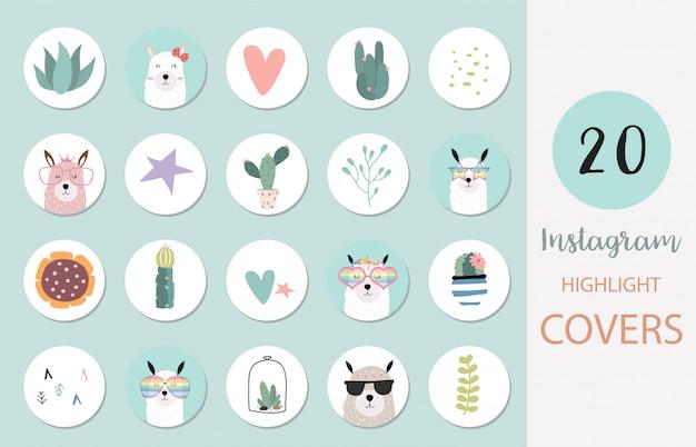 Icône de couverture de surbrillance instagram avec lama, cactus, coeur pour les médias sociaux
