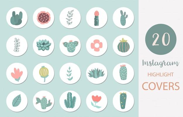 Icône de couverture de surbrillance instagram avec lama, cactus, fleur pour les médias sociaux
