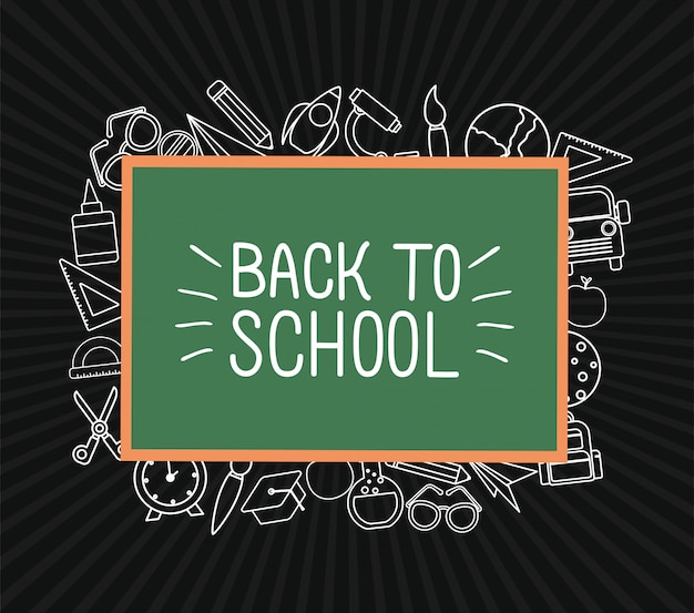 Icône de craie définie autour de la conception du tableau vert, thème de la leçon de la classe de retour à l'école